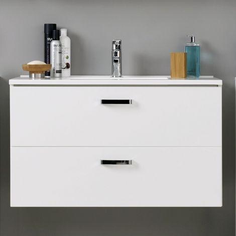 Waschtischunterschrank Bobbi 100cm mit 2 Schubladen und Keramikwaschbecken - weiß