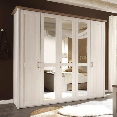 Kleiderschrank Larnaca 241cm mit 5 Türen - weiß