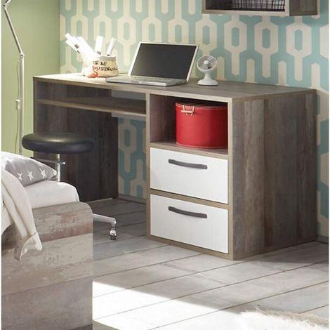Schreibtisch Petrus 125cm mit 2 Schubladen - weiß/ driftwood