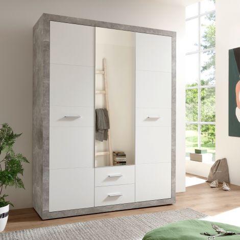 Storck Kleiderschrank 151cm mit 3 Türen und 2 Schubladen und Spiegel - Beton/Weiß