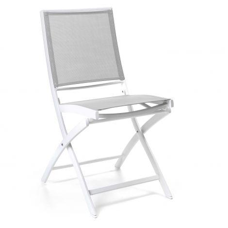 Cassis folding chair alu white textylene grey ligh