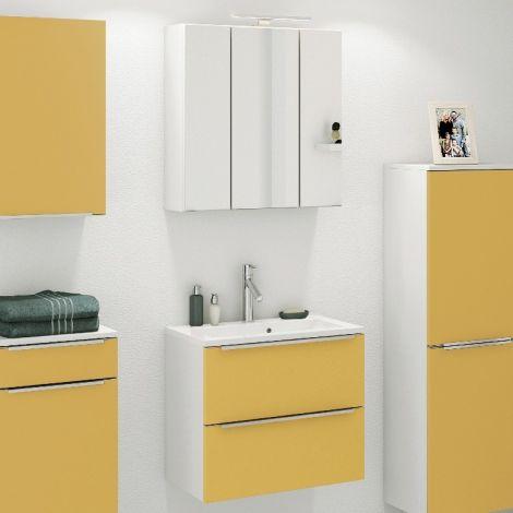 Badkombination Hansen 5 Waschtisch und Spiegelschrank 60cm - gelb/weiß