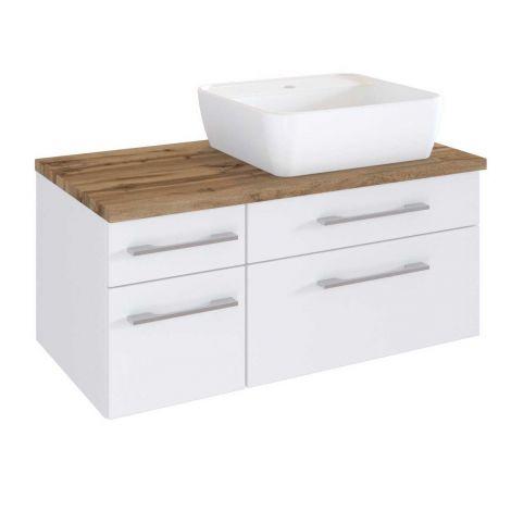 Waschbeckenschrank Dasa (rechts) 90cm mit 4 Schubladen - weiß