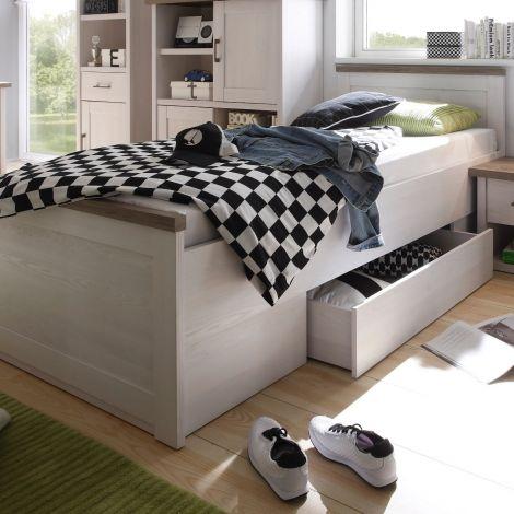 Bett Larnaca 90x200 mit Schublade - weiß