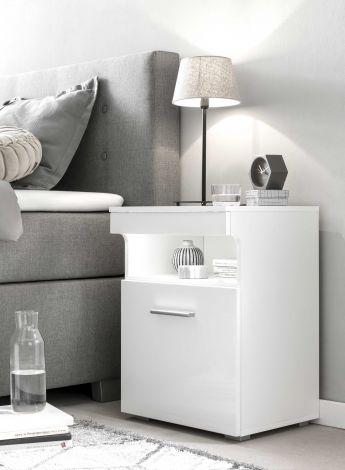 Nachttisch 1 Tür - Hochglanz weiß