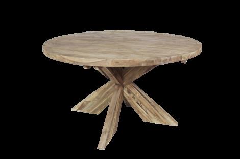 Runder Esstisch mit Schrittfuß - ø130 cm - natur - Teakholz
