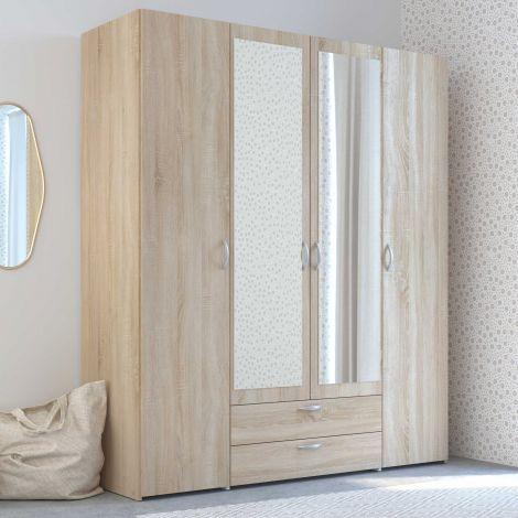 Salvador Spiegelschrank, 4 Türen und 2 Schubladen - Sonoma Eiche