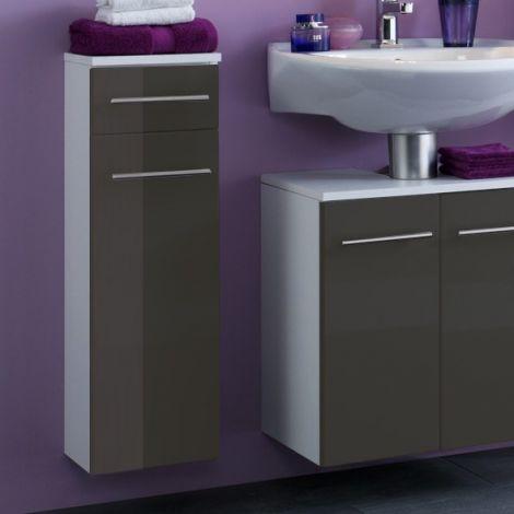 Badezimmerschrank Small 25cm 1 Schublade und 1 Tür - hochglanz-grau