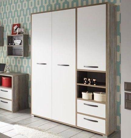 Petrus Kleiderschrank 138cm mit 3 Türen und 2 Schubladen - weiß/ driftwood