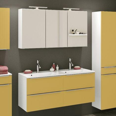 Badkombination Hansen 7 Waschtisch und Spiegelschrank 120cm - gelb/weiß
