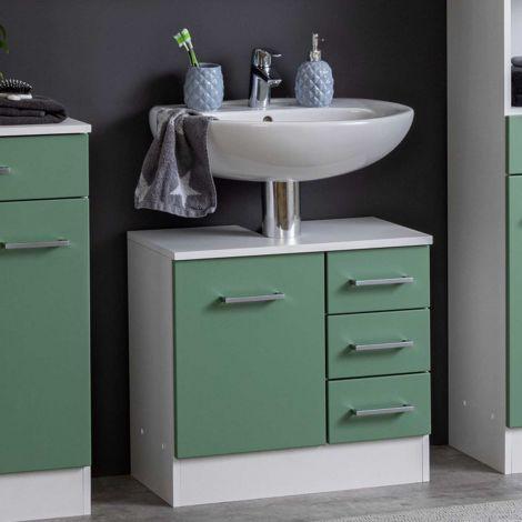 Waschbeckenschrank Ricca 60cm 1 Tür und 3 Schubladen - weiß/grün
