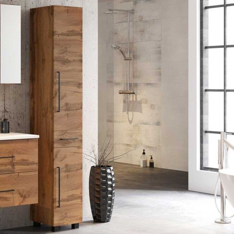 Säulenschrank Dusan mit 2 Türen und 1 Schublade - Eiche wotan