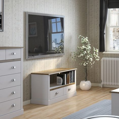 TV unit SANDRINGHAM 700 - TV stand with 2 drawers and 1 shelf - WAX/WHITE