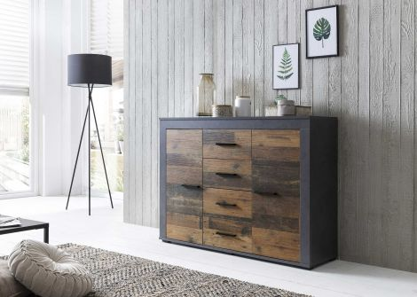 Sideboard Aosta - Korpus Graphit, Front Old Style