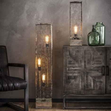 Stehlampe Rechteck Mesh Holzfuß - Verwitterten Kupfer