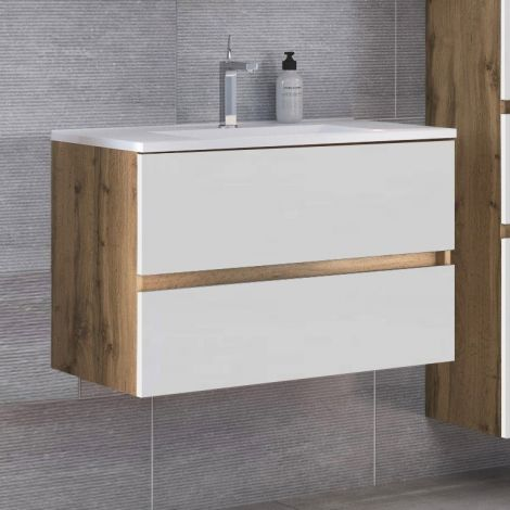 Waschtischunterschrank Luna 80cm 2 Schubladen - Eiche/Weiß