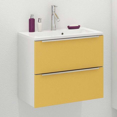 Waschbeckenschrank Hansen L60xD39cm 2 Schubladen - gelb/weiß