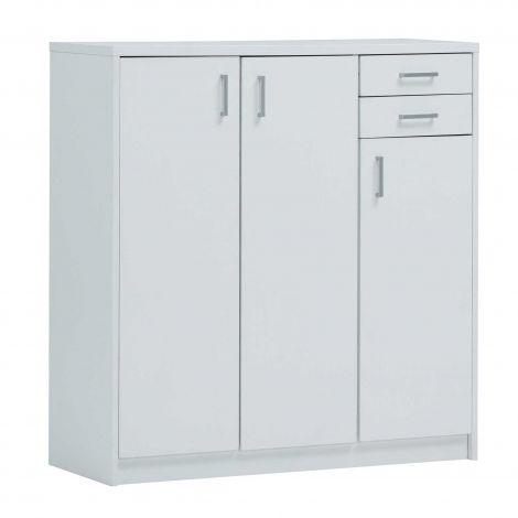 Kommode Spacio 110cm 3 Türen/2 Schubladen - weiß