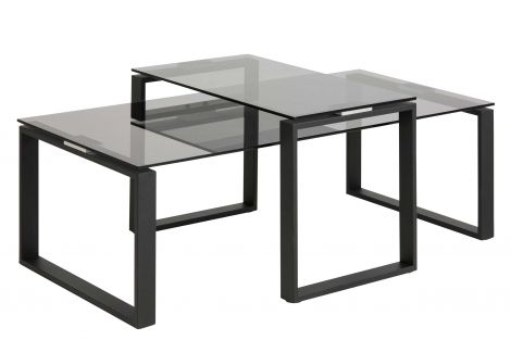 Katrine coffee table set - matt black, smoke